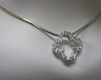 Artistic Diamond Pendant in 14K White Gold