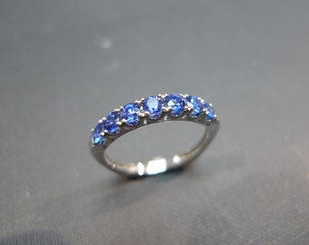 1.00cttw Blue Sapphire Wedding Ring in 18K White Gold