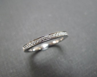 1.5mm Diamond Wedding Band in Platinum, Diamond Wedding Ring, Thin Ring, Pave Ring, Pave Diamond Ring, Half Eternity Band, Diamond Ring