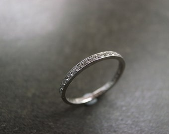 Eternity Diamond Wedding Ring in Platinum, Thin Diamond Wedding Band, Pave Ring, Pave Diamond Ring, Eternity Band, Diamond Engagement Ring
