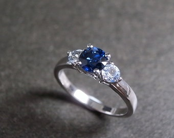 Blue Sapphire and White Sapphire Ring in 14K Gold, Three Stone Ring, Three Stone Engagement Ring, Blue Sapphire Ring, Sapphire Wedding Band