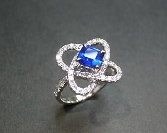 Blue Sapphire Diamond Wedding Engagment Ring In 18K White Gold
