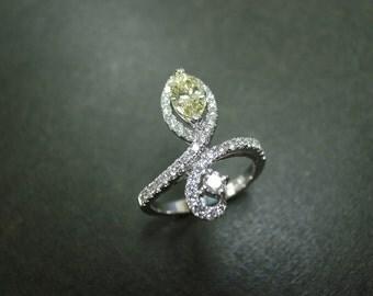 Yellow Diamond Engagement Ring in 14K White Gold, Yellow Diamond Ring, Diamond Wedding Band, Diamond Ring, Yellow Diamond Engagement Ring