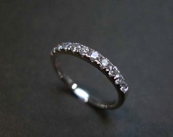 Small Diamond Band, Dainty Engagement w\ Diamond Band, Micropave Band, Thin Micropave Band, Custom Gold Band Engagement Ring, Thin Ring