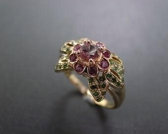Wedding Flower Ring in 14K Rose Gold