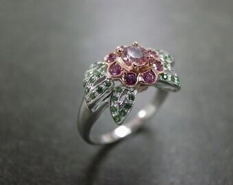 Wedding Gemstone Ring in 14K White Gold