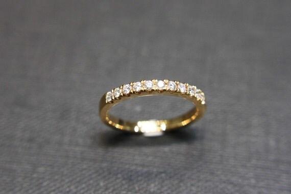 Wedding Diamond Ring in 18K Yellow Gold, Diamond Wedding Band, Diamond Ring, Diamond Engagement Ring, Thin Ring, Wedding Gift, Jewelry Gift