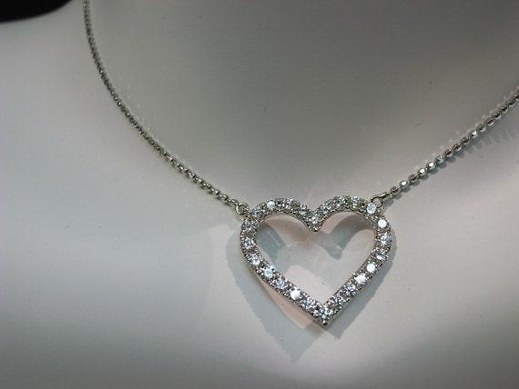 Heart Shaped Diamond Pendant in 18K White Gold