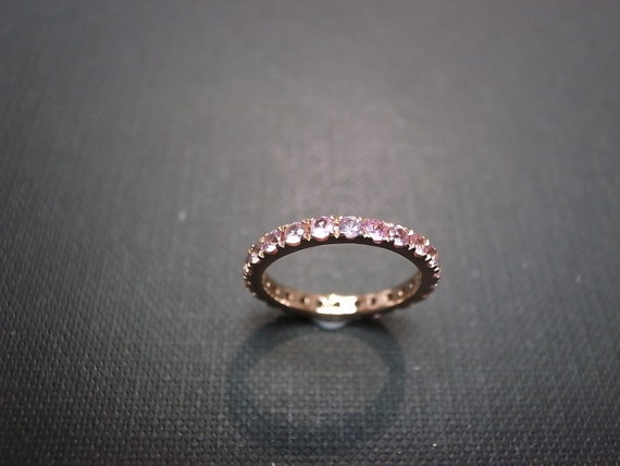 Custom Made - Pink Sapphire Half Band in 14K Rose Gold