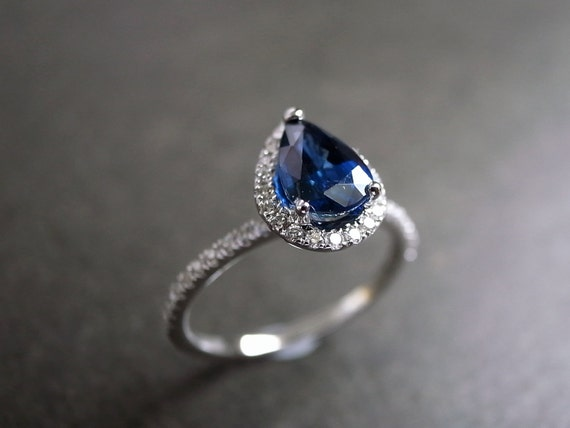 Blue Sapphire Engagement Ring / Engagement Ring / Diamond Engagement Ring /  Diamond Wedding Ring /