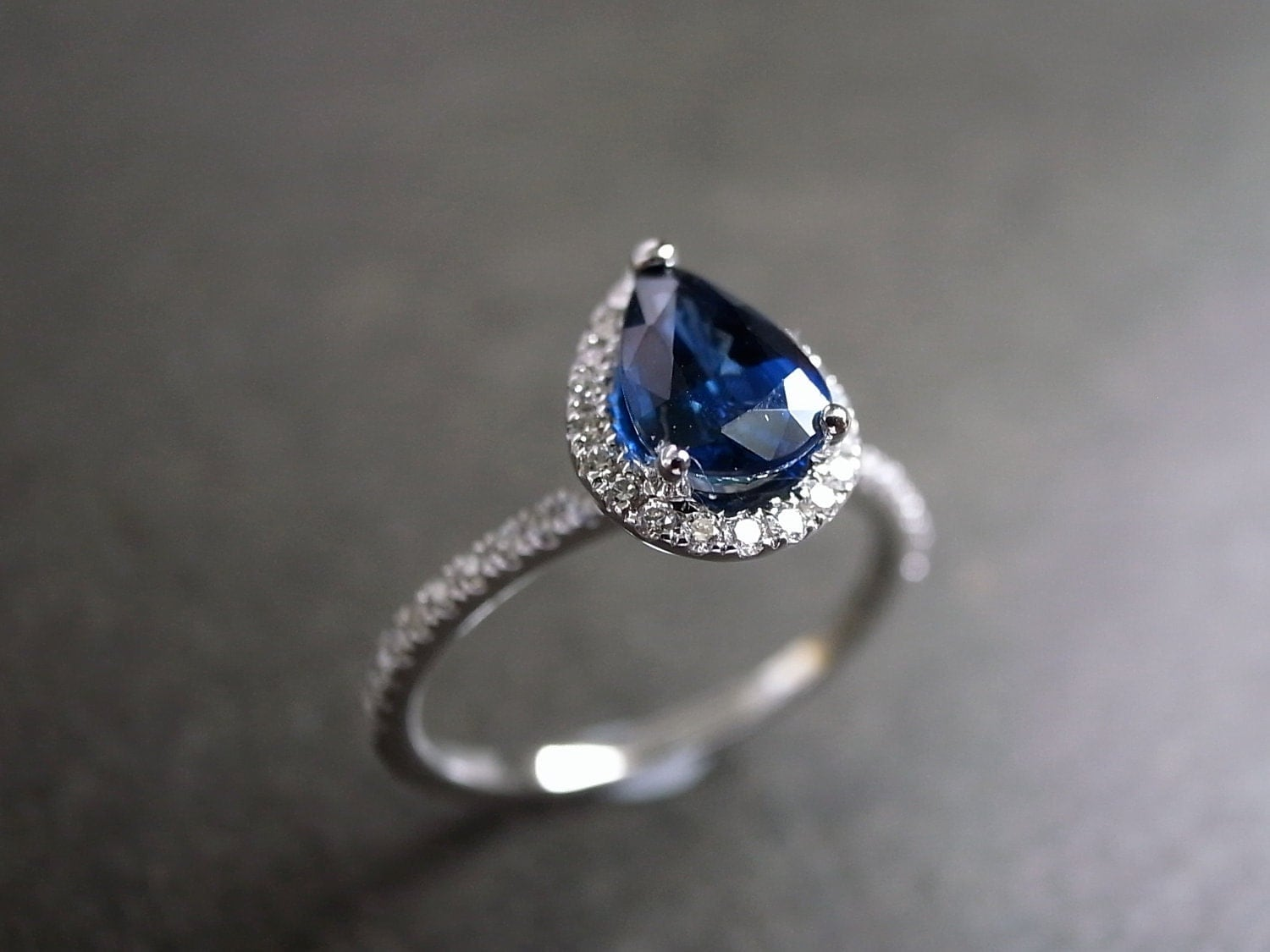 blue sapphire engagement ring engagement ring diamond engagement ring diamond wedding ring pear sapphire ring in 14k white gold - Blue Sapphire Wedding Rings