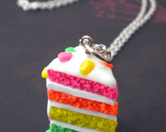 Rainbow Cake Necklace - Neon Cake, Confetti Frosting