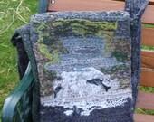 Waterfall leaping salmon scenery crocheted felted handbag Scottish wool.
