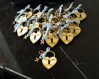 250 Heart and Key Wedding Favors Skeleton Keys Love Lock