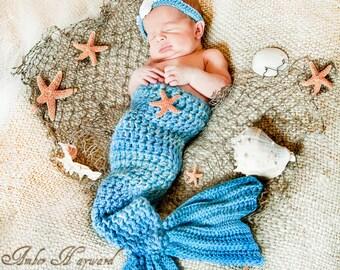 Mermaid Tail and Headband Newborn Photography Prop