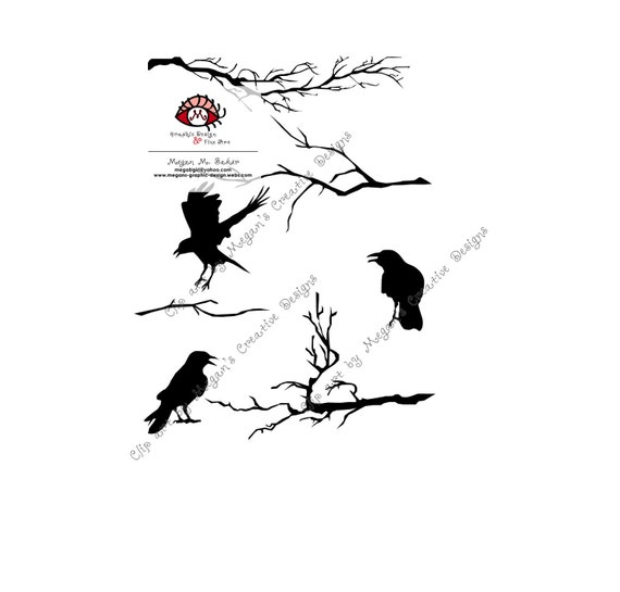 Tree Branches and Crows Halloween Clip Art for cardmaking, digital scrapbooking, graphic and web design, and paper goods