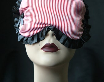 Nautical inspired Sleep mask  black and red stripes - Mélisande - by Love Me Sugar