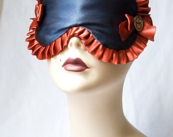 Nautical Inspired Sleep mask Eye mask Boudoir eye mask in Navy and Red - Oceane - by Love Me Sugar on Etsy