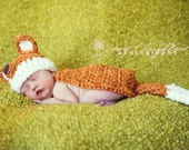 Newborn Fox Hat and Cape Set, Handmade Newborn Photography Prop or Halloween Costume