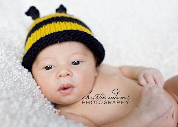 Baby Bee Hat, Bumblebee, Honey Bee, Hand Knit Newborn Hat, Newborn Photography Prop