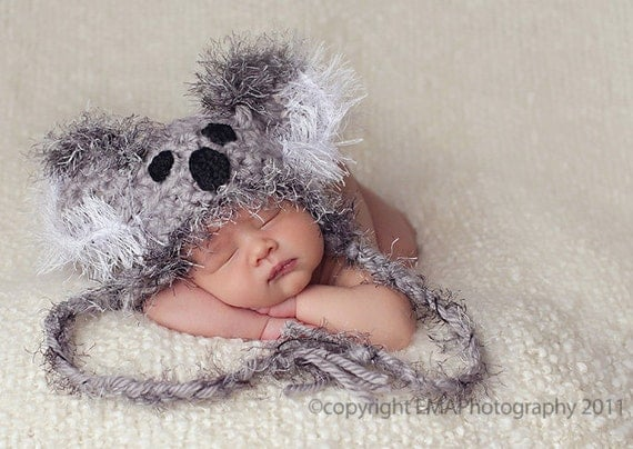 Newborn Koala Hat, Crocheted Baby Animal Hat, Winter Hat and Funky Photography Prop