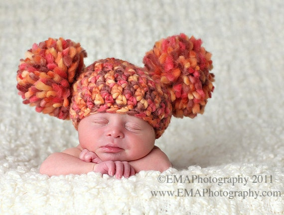 Giant Pom Pom Baby Hat, Newborn Crocheted Hat and Photography Props, Baby Gifts for Under 30