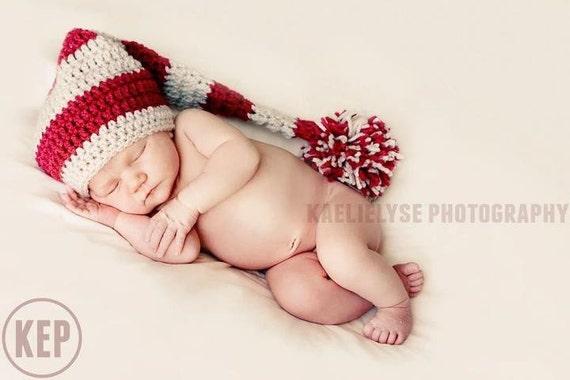 Newborn Hat Baby Hat, Newborn Girl Elf Hat, Newborn Photography Prop, Baby Shower Gift, Christmas Baby Hat