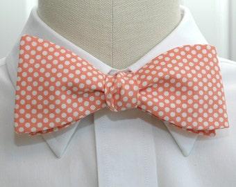 Men's Bow Tie, pale coral with white mini polka dots, wedding bow tie, groom bow tie, salmon pink bow tie, orange bow tie, groomsmen gift,