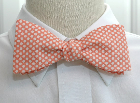 Men's Bow Tie in pale coral with white mini polka dots (self-tie)