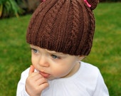 Cabled Teddy Hat - Knitting Pattern PDF