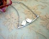 Bird Necklace. Birds on Branch. Love Birds Pendant. Bird Jewelry. Kissing Bird Charm. Silver Mother Necklace. Anniversary Gift.