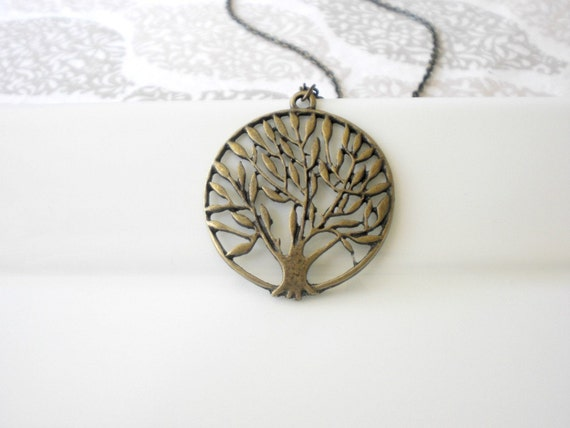 Antique Bronze Tree of Life Necklace. Tree Necklace. Round Filigree Style Pendant SALE