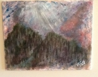 """Original Acrylic Painting By Artist....Signed.......""""Mountain Wild Fire"""""""