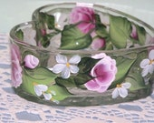 Candy  Dish Hand Painted with Pink Roses