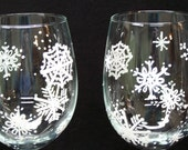 Snow Flake Wine Glasses Hand Painted