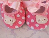 HeLLo KiTTy, BaBY BLiNG Crib Shoes-Bright Pink & White Polka DoT w/ Hello Kitty Resins- -pink ribbon laced