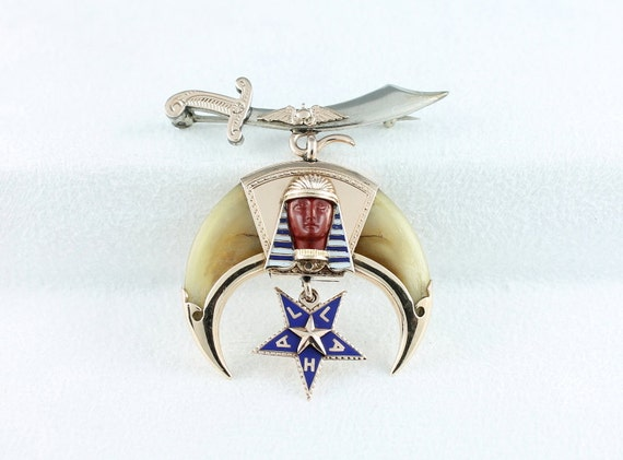 Antique Masonic Shriner 10k Gold Amp Sterling Lapel Pin With