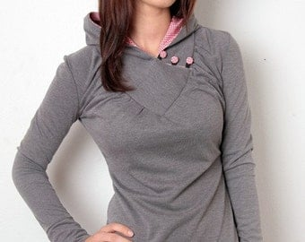 grey hoodie top - vichy checkered
