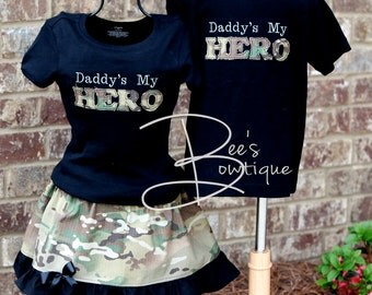 Daddy's my HERO black boys t-shirt sizes 6 months and up