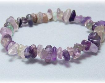 Stretch Bracelet - Gemstone Bracelet - Rainbow Fluorite, Bead Bracelet, Gemstone Jewelry
