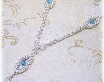 Medieval Necklace - Renaissance Necklace - Chainmail Necklace, Tudor Jewelry, SCA, Fantasy Jewelry, Swarovski Crystal