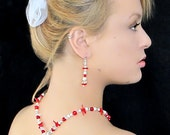 coral and pearl necklace-Great for casual or Wedding.