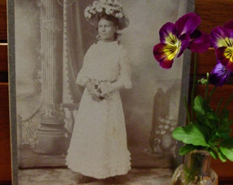 Victorian Cabinet Photo Girl with Flower Hat