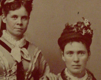 Antique Tintype Photo -  Girls in Elaborate Flowered Hats and Dresses - Civil War Era