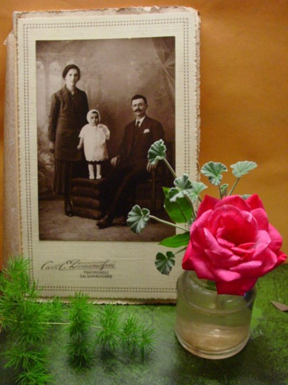 Antique Photo Italian Italy Family ... Man with Mustache Woman and Baby Girl