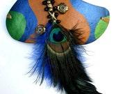 Peacock Feather Hair Barrette, Gourd Shell Hair Barrette, Woman's Barrette, OOAK
