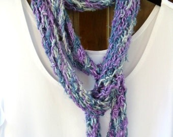 Scarf Blue and Lavender Recycled Fiber Summer Spring