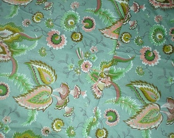 SALE Vintage 1950s Waverly Deerfield Manor Bonded Cotton Linen Fabric Yardage Floral Paisley