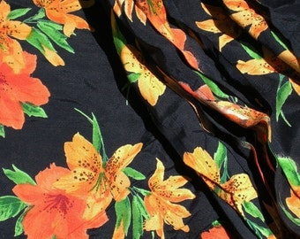 SALE Vintage 1940's 1950's Style 1980's Black Orange Tigerlily floral botanical print dress fabric rayon