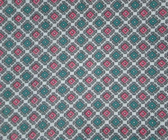 RESERVED SALE Vintage 1940s 1950s Pink and Blue Diamonds  Hearts Cute Fabric